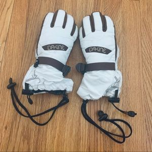 Skiing or heavy winter gloves with leather accents